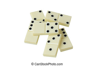 Scattered pile of white dominoes. Isolated....