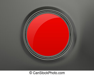 Red Button - Blank red circular shiny button on dark...