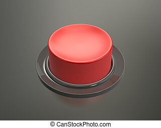 Red Button - Blank shiny red button on glossy dark...