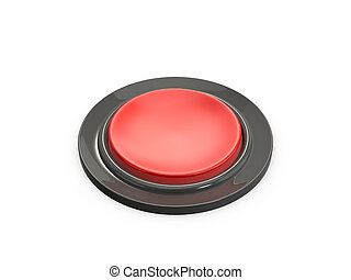Red Button - Blank red shiny button, isolated on white...