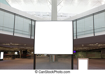 big Blank Billboard in airport