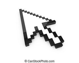 Arrow Cursor - Black pixel arrow cursor, pointer with...