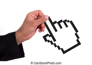 Businessman Holding Mouse Cursor - Businessman holding black...