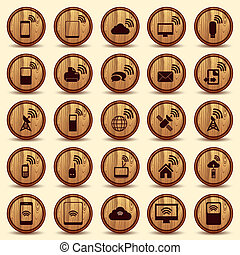 Wood WiFi icons. Mobile and wireless Buttons. - Wood WiFi...