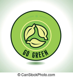 Vector round label with recycl? symbol and text go green
