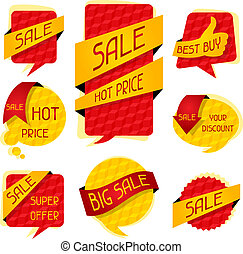 Sale speech bubbles and banners.