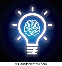 Vector light bulb and brain icon - creativity concept