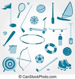 Icons beach toys sports set.