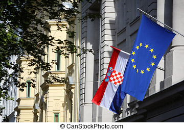 Building with EU and Croatian flag