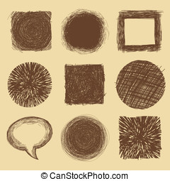 Vector set with doodle backgrounds and frames - ink drawings