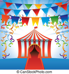 Vector circus tent - bright icon - party and entertainment...