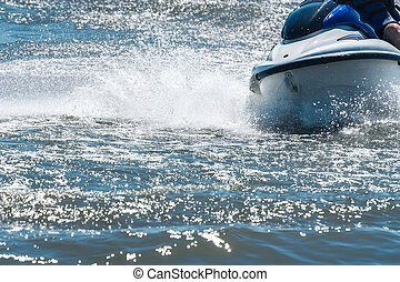 Jet ski - High-speed jet ski wet bike on waves