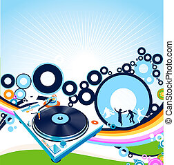 turntable and rainbow - Abstract design with turntable and...