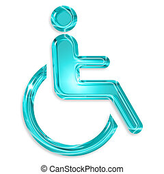 blue disabled symbol isolated on white background