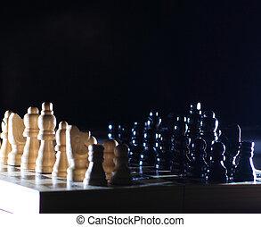 Piezas de ajedrez, lustre, composición