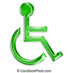 green disabled symbol isolated on white background