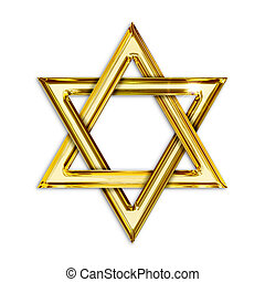 Illustration of golden hexagram on white background