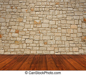 Wooden floor with stone wall - wooden floor with beige stone...