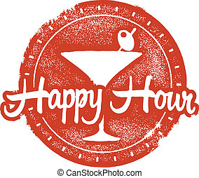 Happy Hour Cokctail Stamp - Bar and restaurant happy hour...