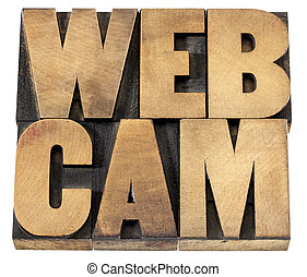 webcam word in wood type