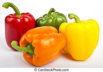 Bell Peppers over a white background.