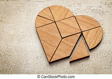 corazón, tangram