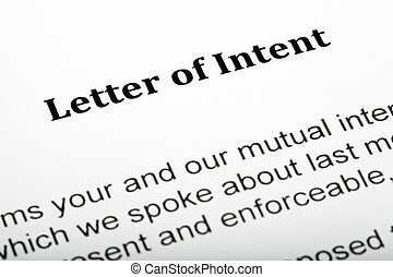 Letter of Intent - A close up of a 'Letter of Intent'.