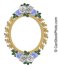 Wedding Frame Thank you Card - 3d illustrated oval frame...