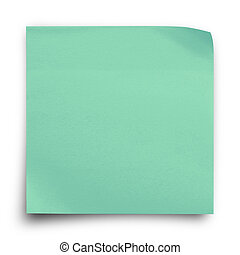 Green sticker paper note on white background