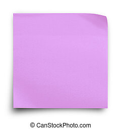 Purple sticker paper note on white background