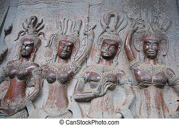 Apsara at Angkor Wat - Apsaras are beautiful, supernatural...
