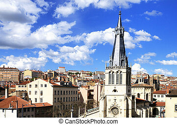 Lyon city - skyline and view of Lyon city, Rhone-alpes,...