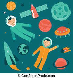 Vector set with space and planets icons - astronaut in space