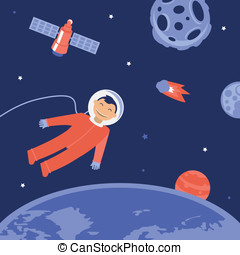 Vector cartoon astronaut in space - illustration in flat...