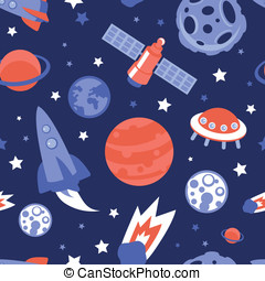 Vector seamless pattern with planets and stars - Vector...