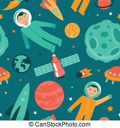 Vector seamless pattern with space and planets - astronaut...