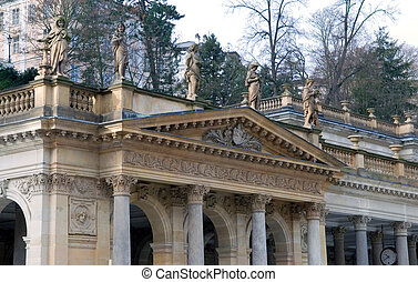 roof of old building with columns
