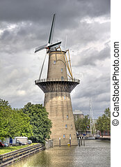 Windmill Nolet in Schiedam, Holland is a wind turbine...