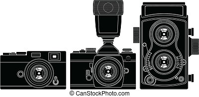 Old Cameras - Layered vector illustration of colected Old...
