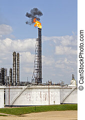 Oil Refinery with Fire and Smoke