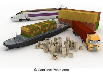 types of transport of transporting are loads. 3d render...