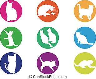 Illustration cats silhouette colorf