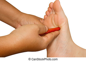 Reflexology foot massage, thai spa foot treatment by wood...