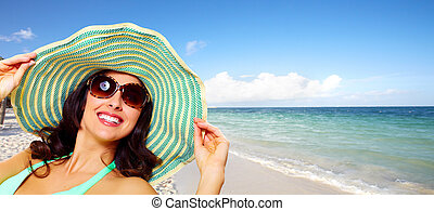 mulher, praia, férias