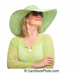 Woman wearing sunglasses and a hat. - Senior Woman wearing...