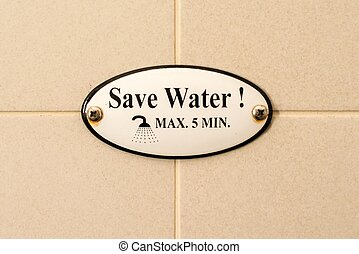 Save Water - plaque on tiles in shower