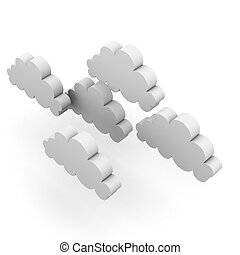 Group of Clouds 3D isolated