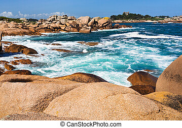 Pink Granite Coast in Brittany - stone Pink Granite Coast in...