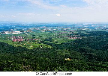 aerial view of green Alsace lands