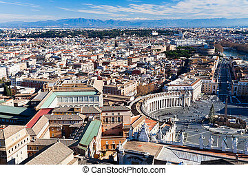 birds view on center of Rome city, Italy